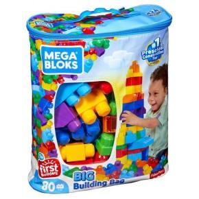 """Конструктор Мега Блокс """"Перші будівельники"""" в блакитний сумці 80 шт., MEGA BLOKS (DCH63-CYP72)"""